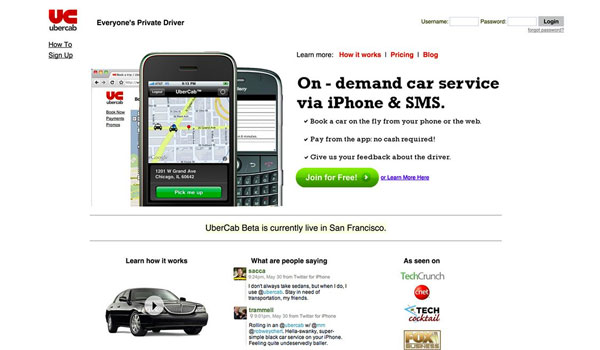uber's original website