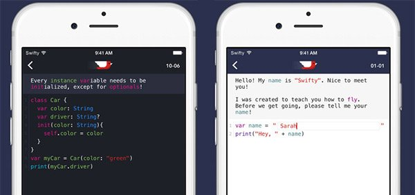 swifty app for learning how to code
