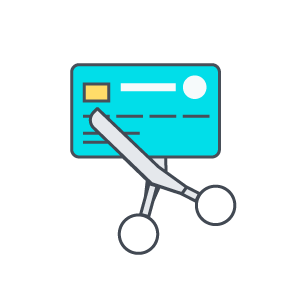 Scissors cutting credit card icon